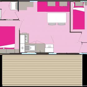 Lodge 4 personnes - 24 m² - plan intérieur