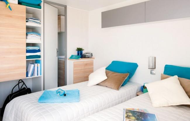mobil home 4 personnes premium - la chambres 2 lits