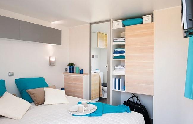 mobil home 4 personnes premium - la chambres 1 lit 2 places