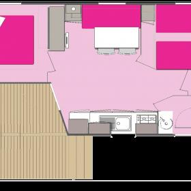 Lodge 4 personnes 26 m² - plan intérieur