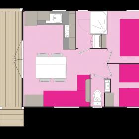 lodge 4 personnes 28m² - plan extérieur