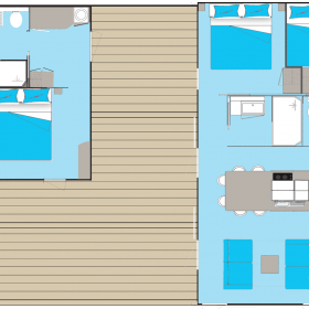 Cottage Keywest 6 personnes deux lodges - plan